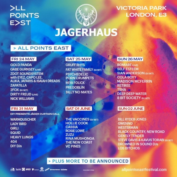 Jagerhaus All Points East Line Up Poster
