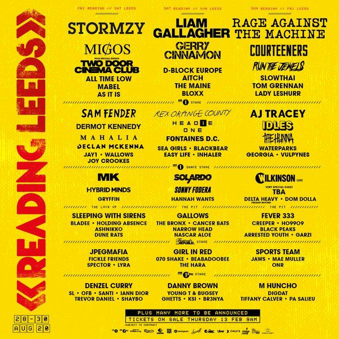 Leeds Festival 2020 line up poster