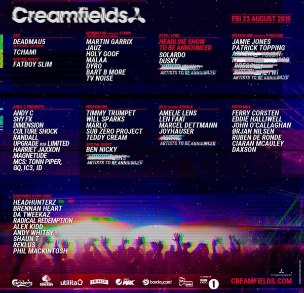 Creamfields Line Up Poster