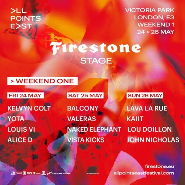 Firestone Stage Line Up