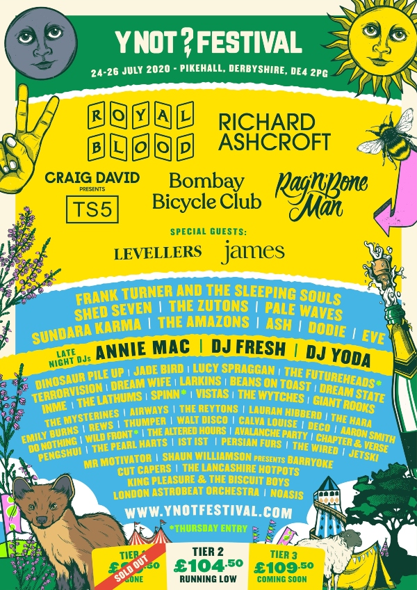 Y Not Festival 2020 line up poster
