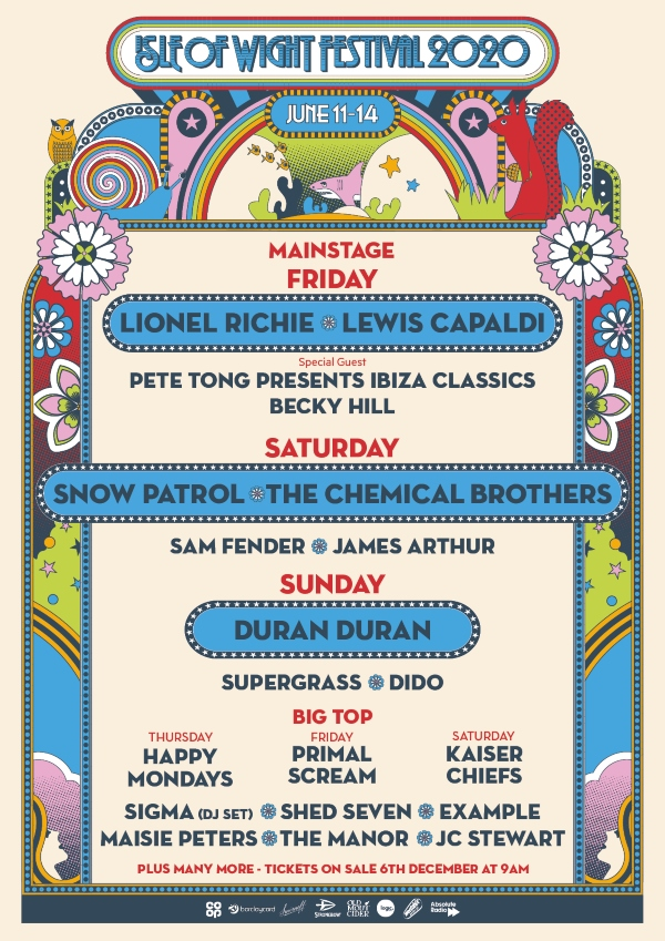 Isle of Wight Festival 2020 line up poster