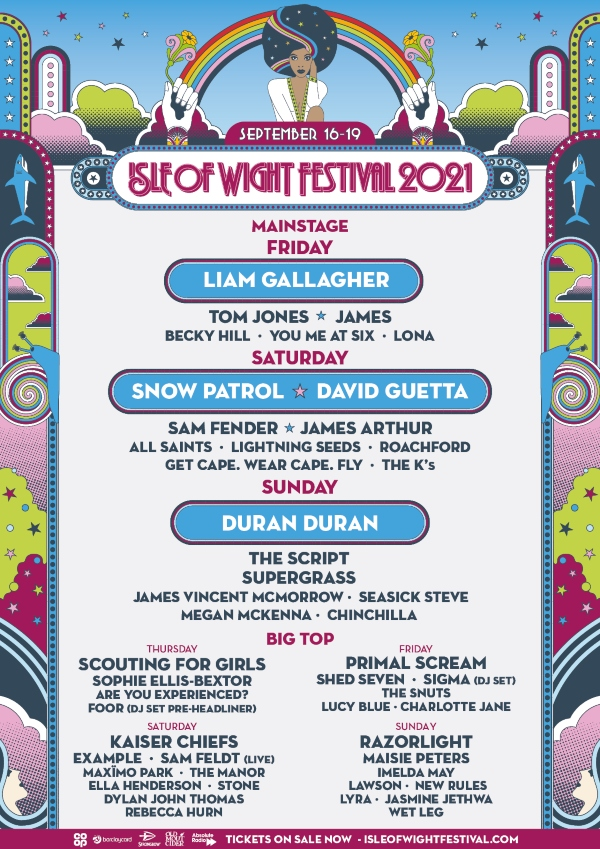Isle of Wight Festival Festival 2021 line up poster