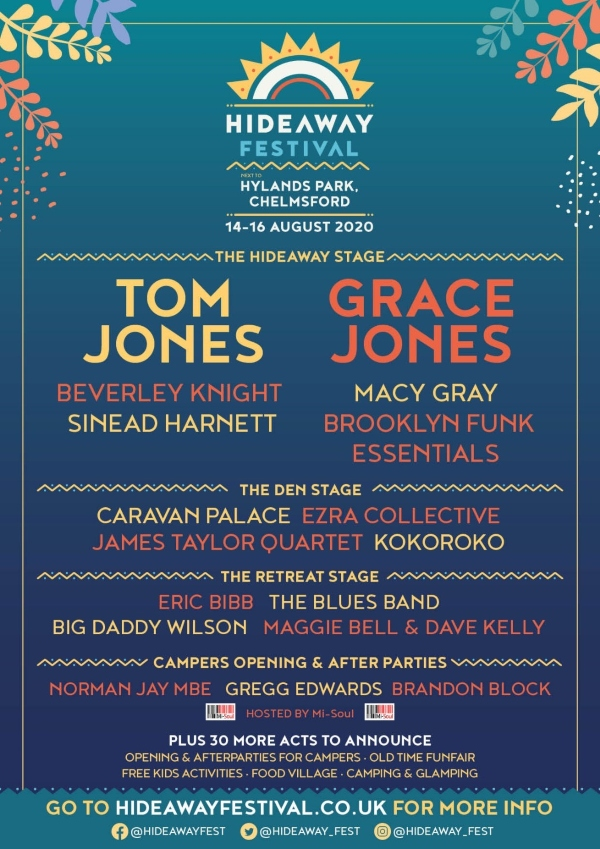 Hideaway Festival 2020 line up poster