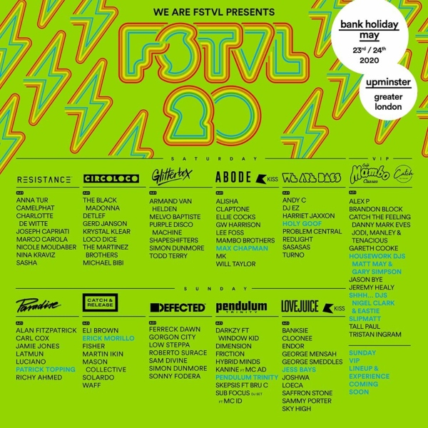 We Are FSTVL 2020 line up poster