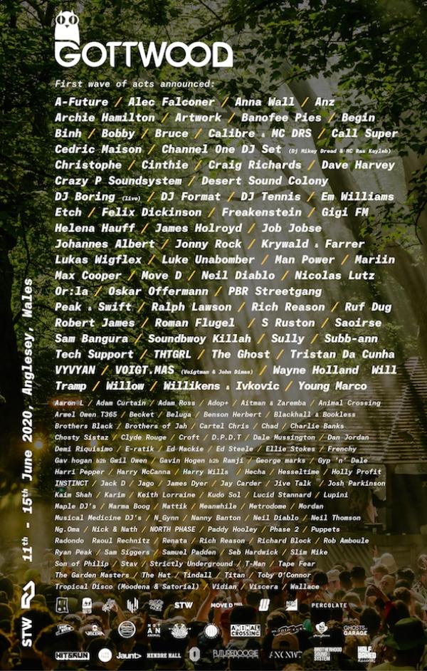 Gottwood Festival 2020 line up poster