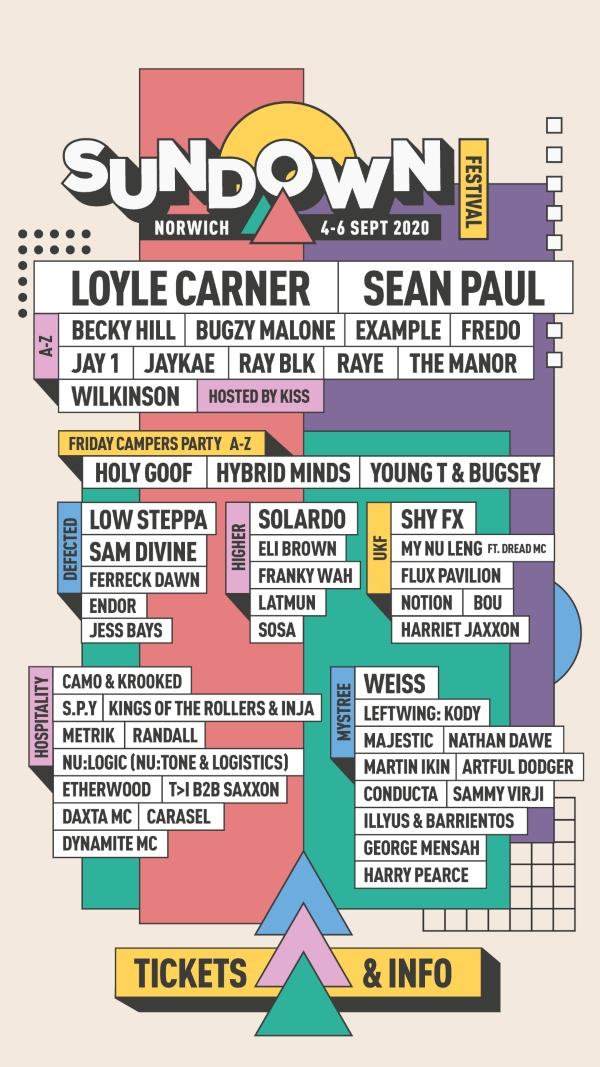 Sundown Festival 2020 line up poster