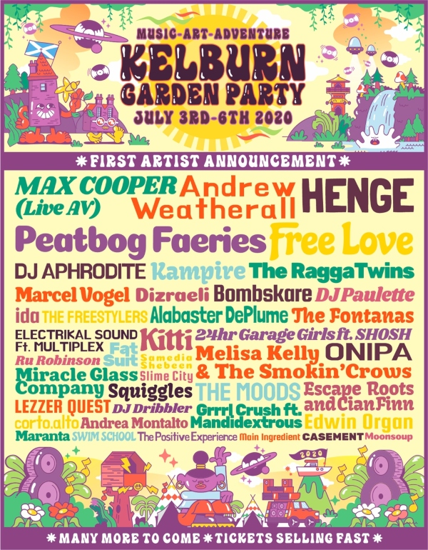 Kelburn Garden Party 2020 line up poster