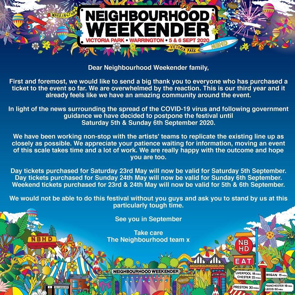 Neighbourhood Weekender Cancellation Mesage