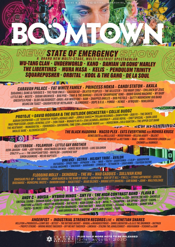 Boomtown 2020 line up poster