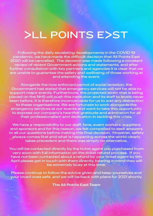 All Points East 2020 cancelled official statement