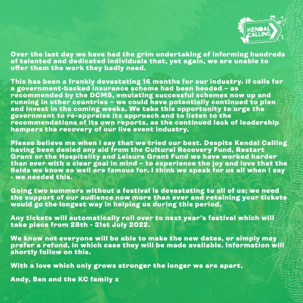 Kendal Calling cancellation statement part 2