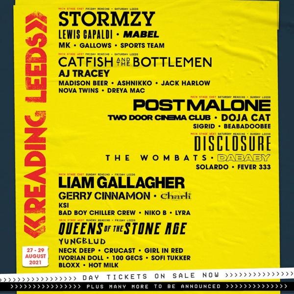 Reading Festival 2021 line up poster