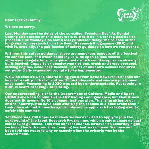 Kendal Calling cancellation statement