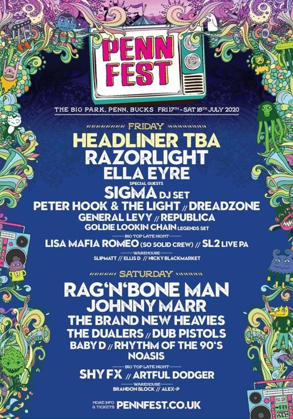 Penn Fest 2020 line up poster