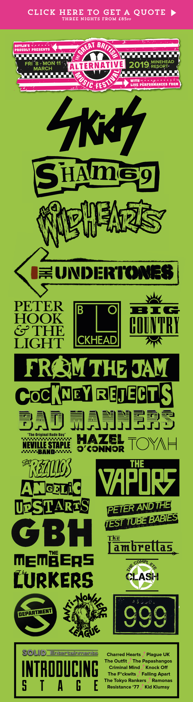 The Great British Alternative Music Festival Line Up