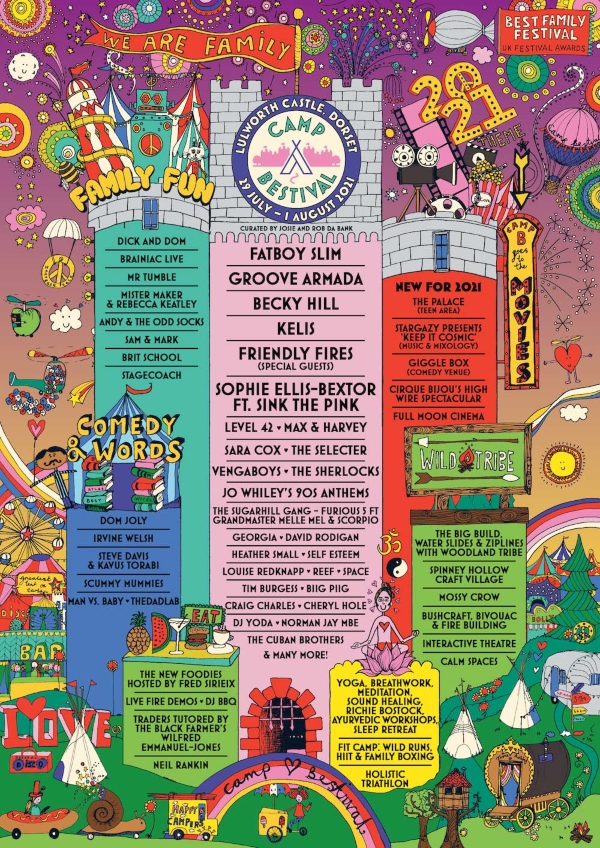 Camp Bestival 2021 line up poster
