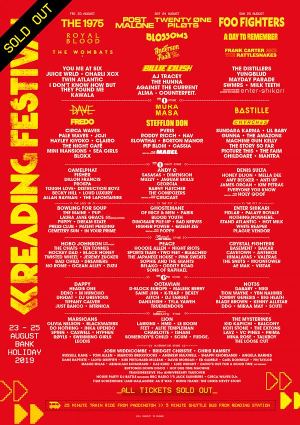 Reading Festival 2019 Line Up Poster