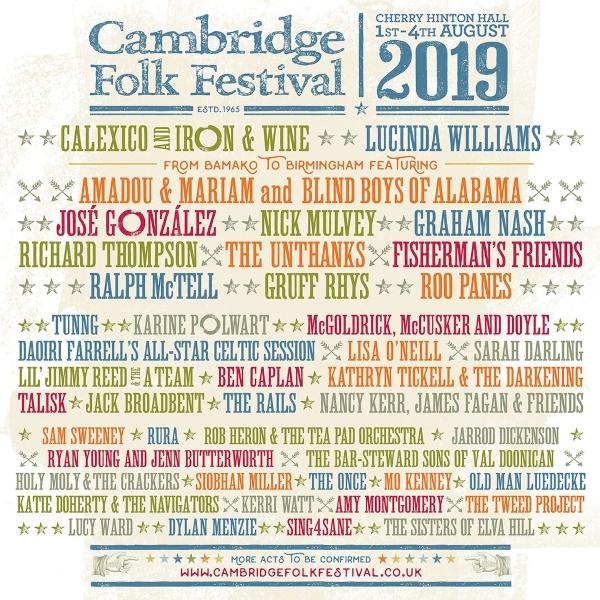 Cambridge Folk Festival 2019 line up poster