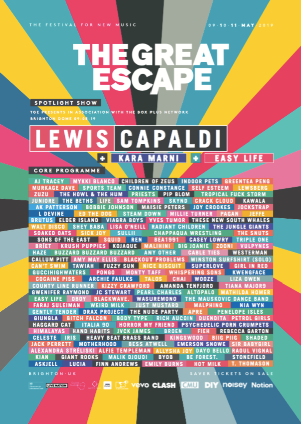 The Great Escape 2019 Line Up Poster
