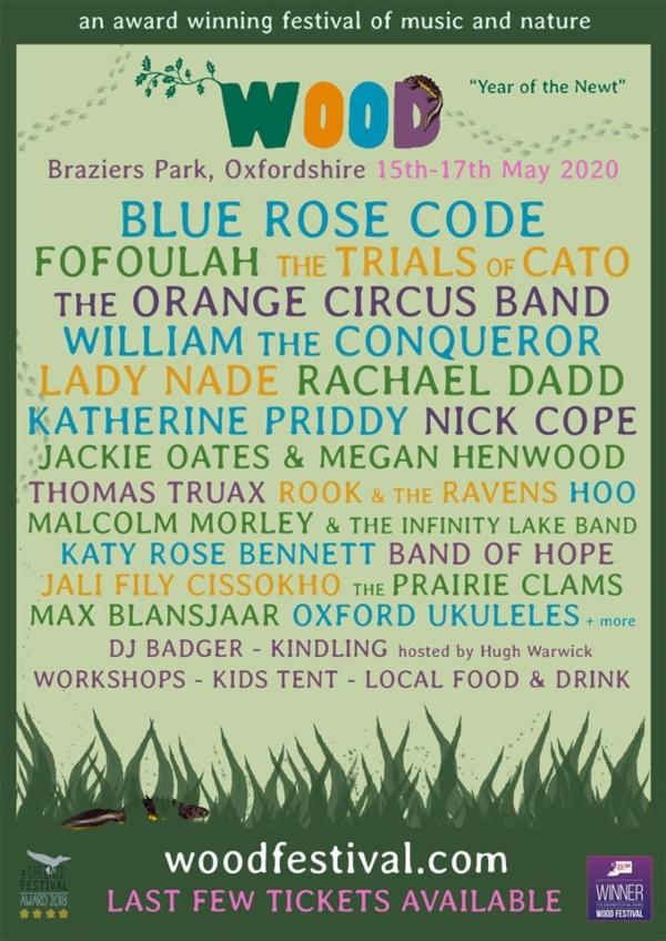 Wood Festival 2020 line up poster
