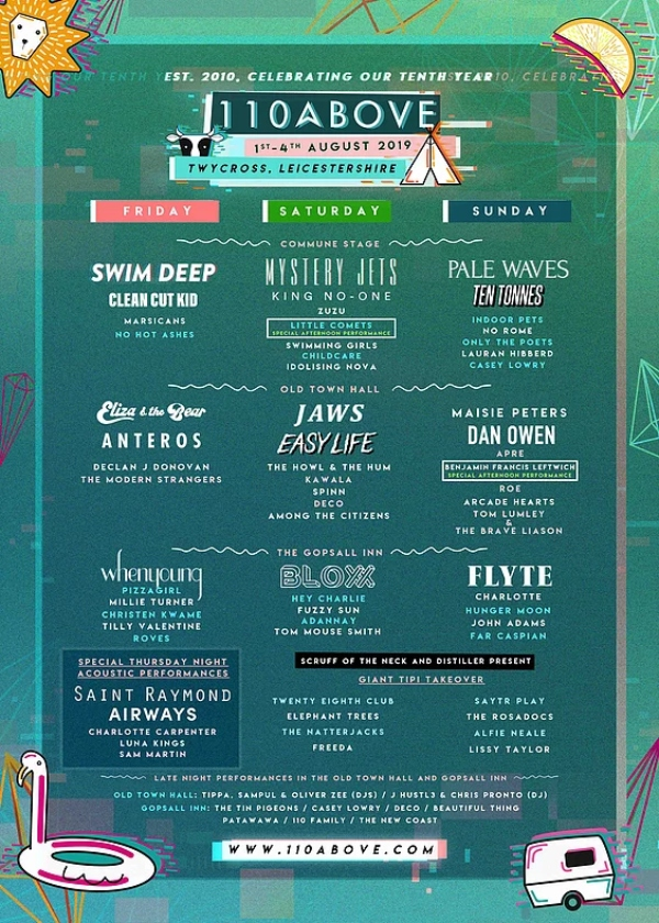 110 Above Festival 2019 line up poster