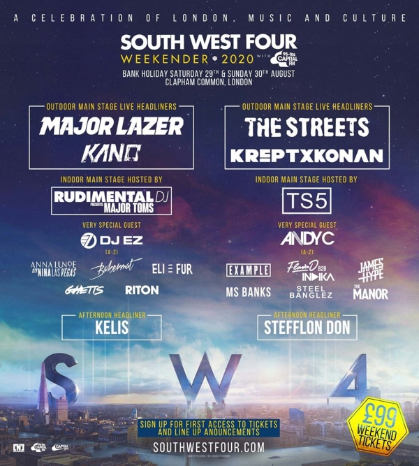 South West Four 2020 line up poster