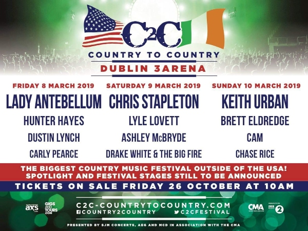C2C Dublin 2019 line up poster