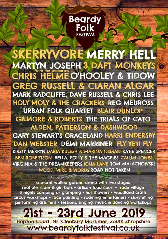 Beardy Folk Festival 2019 Line Up Poster